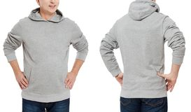 Man in gray sweatshirt template isolated. Male sweatshirts set with mockup and copy space. Hoody design. Hoodie front and back royalty free stock photos