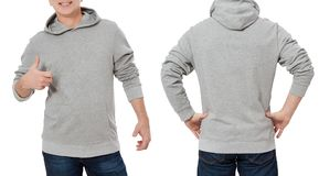 Man in gray sweatshirt template isolated. Male sweatshirts set with mockup and copy space. Hoody design. Hoodie front and back. View. Closeup stock photo