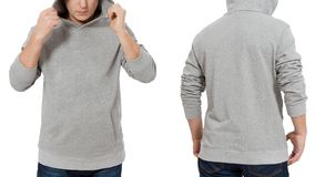Man in gray sweatshirt template isolated. Male sweatshirts set with mockup and copy space. Hoody design. Hoodie front and back stock photography