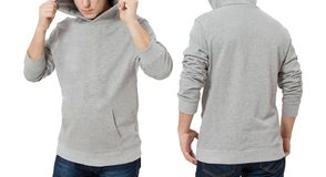 Man in gray sweatshirt template isolated. Male sweatshirts set with mockup and copy space. Hoody design. Hoodie front and back royalty free stock photo
