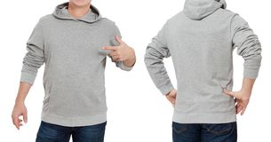 Man in gray sweatshirt template isolated. Male sweatshirts set with mockup and copy space. Hoody design. Hoodie front, back rear stock images