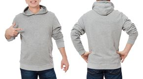 Man in gray sweatshirt template isolated. Male sweatshirts set with mockup and copy space. Hoody design. Hoodie front, back rear. Man in gray sweatshirt template royalty free stock images