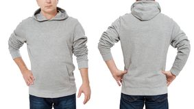 Man in gray sweatshirt template isolated. Male sweatshirts set with mockup and copy space. Hoody design. Hoodie front and back royalty free stock image