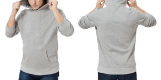 Man in gray sweatshirt template isolated. Male sweatshirts set with mockup and copy space. Hoody design. Hoodie front and back stock photos