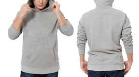 Man in gray sweatshirt template isolated. Male sweatshirts set with mockup and copy space. Hoody design. Hoodie front and back stock images