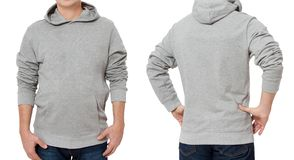 Man in gray sweatshirt template isolated. Male sweatshirts set with mockup and copy space. Sweat shirt design front view royalty free stock photography