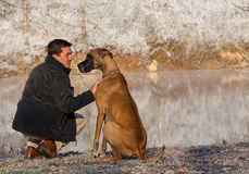 Man and great dane by pond. A man and his great dane looking at each other near a pond in winter Stock Images