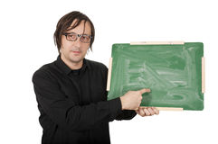 Man with green board Royalty Free Stock Photo
