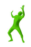 Man in a green body suit Royalty Free Stock Photos