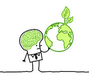 Man with green brain & green earth. Hand drawn cartoon characters - man with green brain & green earth stock illustration