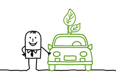 Man with green car. Hand drawn cartoon characters - man with green car Royalty Free Stock Photography