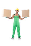 Man in green coveralls Royalty Free Stock Image
