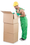 Man in green coveralls Royalty Free Stock Images