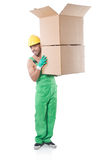 Man in green coveralls Stock Photography