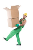 Man in green coveralls Royalty Free Stock Photography