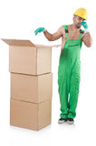 Man in green coveralls Royalty Free Stock Photos