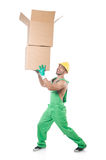 Man in green coveralls Stock Images