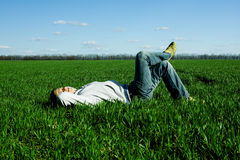 Man and green field Stock Image