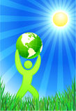 Man with Green Globe on summer background Stock Images