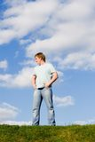 Man on green grass Stock Images