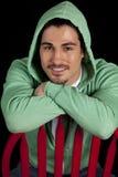 Man green hoodie smile Stock Photo
