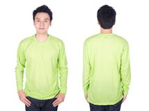 Man in green long sleeve t-shirt isolated on white background Royalty Free Stock Photography