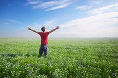 Man in green meadow. Stock Photos