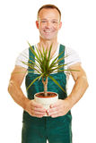 Man in green overall holding a plant Stock Photo