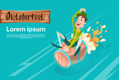 Man Green Patric Ride Beer Barrel Oktoberfest Festival Banner Royalty Free Stock Image