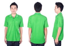 Man with green polo shirt on white background Stock Photography