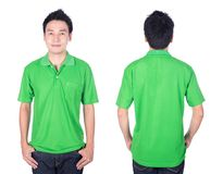 Man with green polo shirt on white background Royalty Free Stock Image