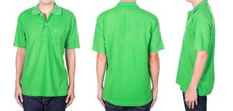 Man with green polo shirt on white background Stock Images