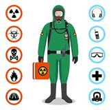 Industry concept. Detailed illustration of worker in green protective suit. Safety and health vector icons. Set of signs. Man in green protective suit in flat Royalty Free Stock Images