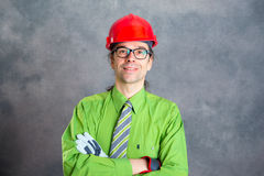 Man in green shirt pink glasses on head and necktie Royalty Free Stock Photo
