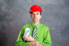 Man in green shirt pink glasses on head and necktie Royalty Free Stock Image
