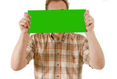 Man with green sign Royalty Free Stock Photos