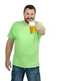 Bartender offering to you lager tankard free. Cheerful bartender offering to you lager tankard free on white background Stock Photo