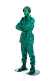 Man on a green toy soldier costume Royalty Free Stock Photography
