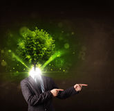Man with green tree head concept Stock Photography