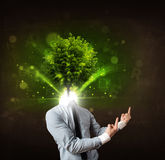 Man with green tree head concept Royalty Free Stock Images