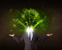 Man with green tree head concept Royalty Free Stock Photos