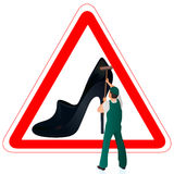 Man in green uniform cleaning the road sign with w. Man in green uniform cleaning the road sign with shoe vector illustration