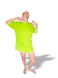 Man in Green, Yawning Stock Photo
