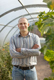 Man in greenhouse Royalty Free Stock Photography