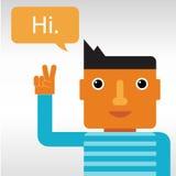 Man greeting and saying Hi Stock Image