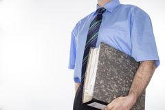 Man with grey document Royalty Free Stock Images