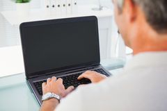 Man with grey hair typing on laptop Royalty Free Stock Photo