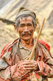 Man with grey moustache in Nepal Royalty Free Stock Image