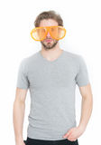 Man in grey shirt with funny orange big glasses Stock Photography