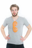 Man in grey shirt with funny orange big glasses Stock Images